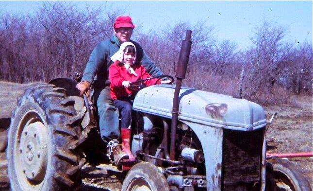Annette & Grandpa on Tractor (1971) 2